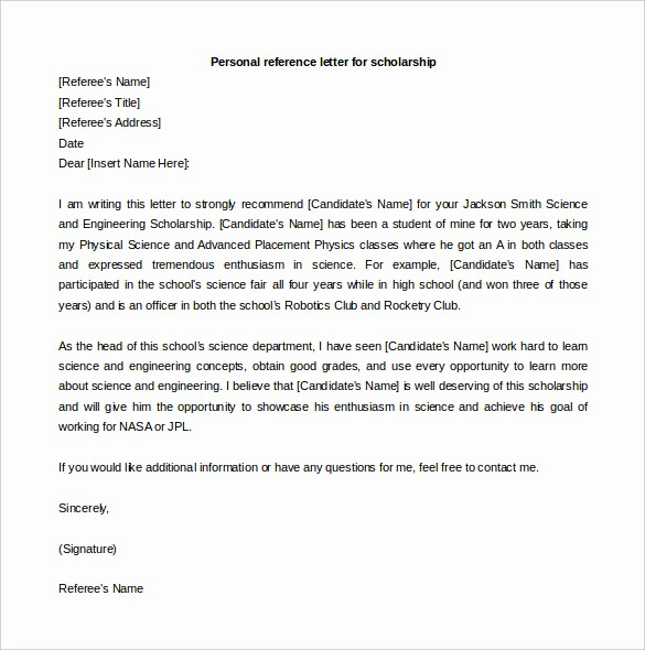 Personal Reference Letter Template Free Beautiful Free Reference Letter Templates 24 Free Word Pdf