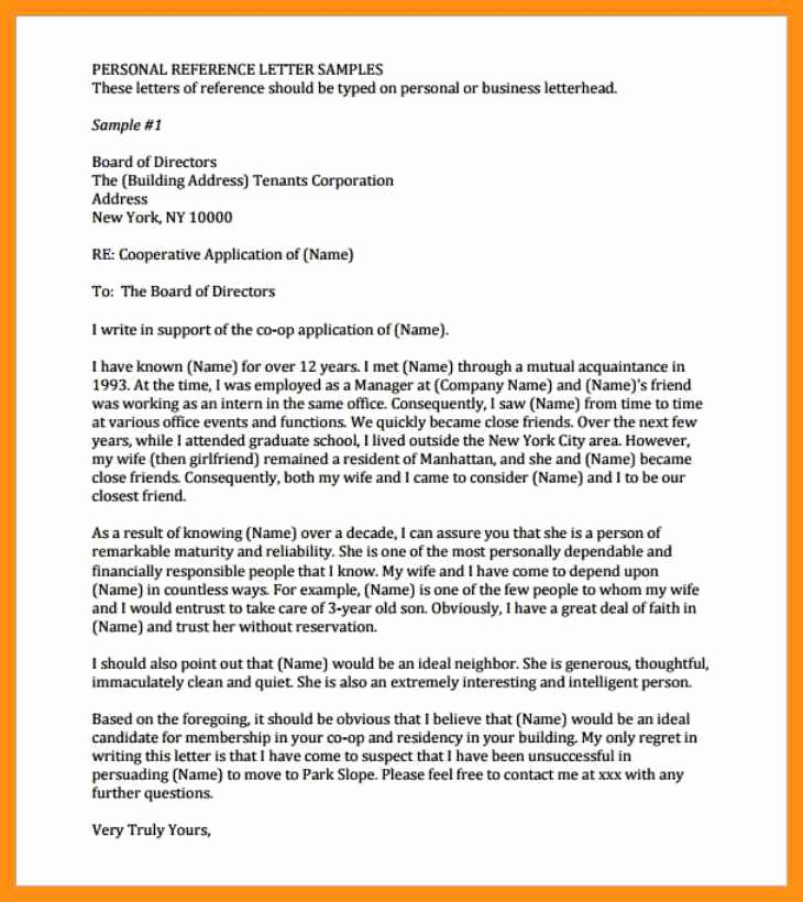 Personal Reference Letter Template Free Beautiful Personal Reference Letter Coop