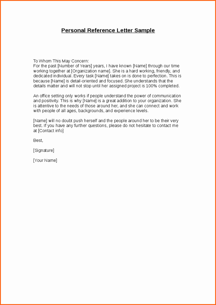 Personal Reference Letter Template Free Best Of Personal Reference Letter Template Bud Template Letter