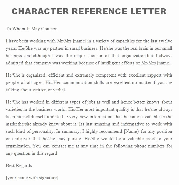 Personal Reference Letter Template Free Fresh 41 Free Awesome Personal Character Reference Letter