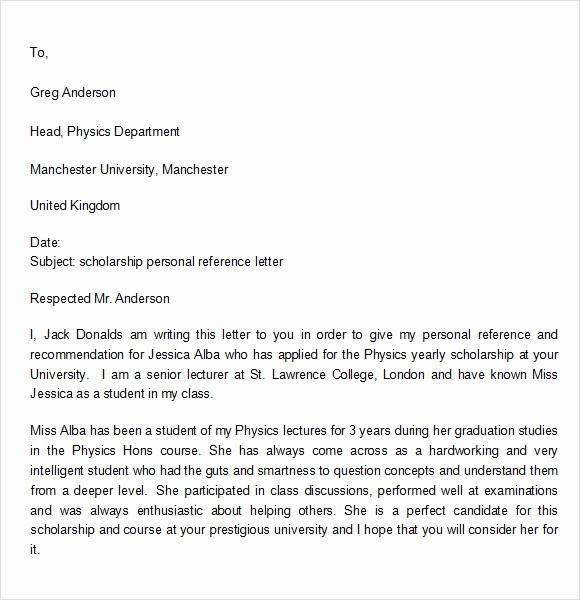 Personal Reference Letter Template Free Fresh 7 Personal Reference Letter Templates Download for Free