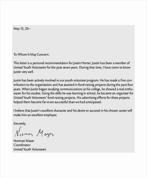 Personal Reference Letter Template Free Lovely 41 Sample Reference Letter Templates