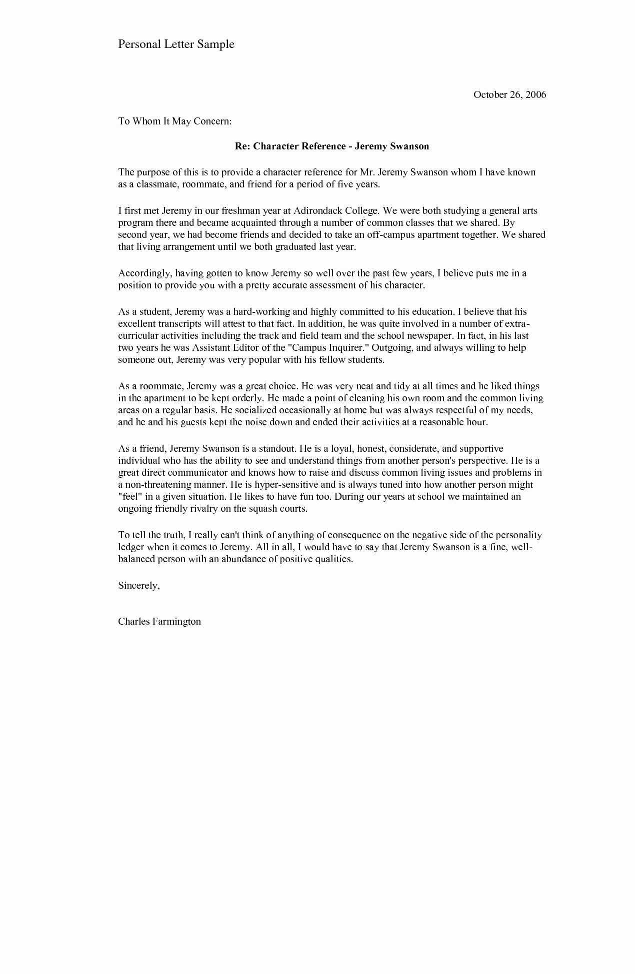 Personal Reference Letter Template Free Lovely Re Mendation Letter for A Friend Template