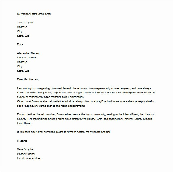Personal Reference Letter Template Free Luxury Personal Letter Of Re Mendation 16 Free Word Excel