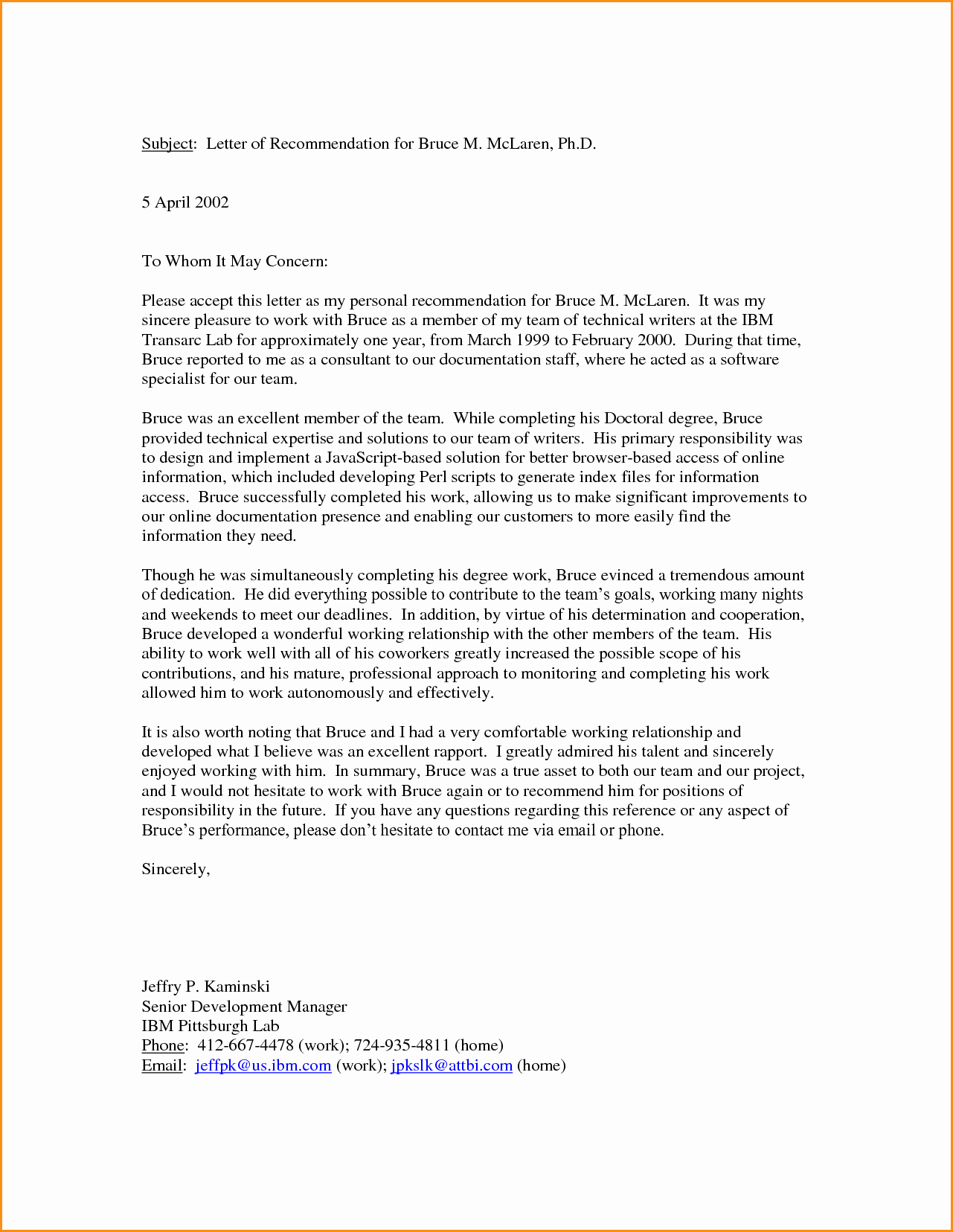 Personal Reference Letter Template Free New 11 Good Letter Of Re Mendation Example