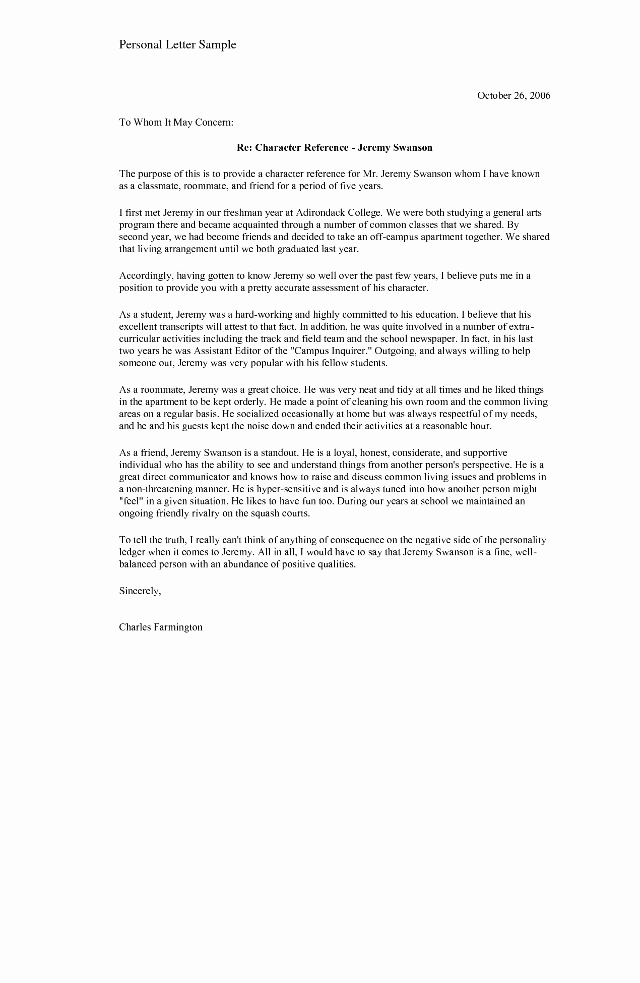 Personal Reference Letter Template Free New Sample Personal Character Reference for A Friend