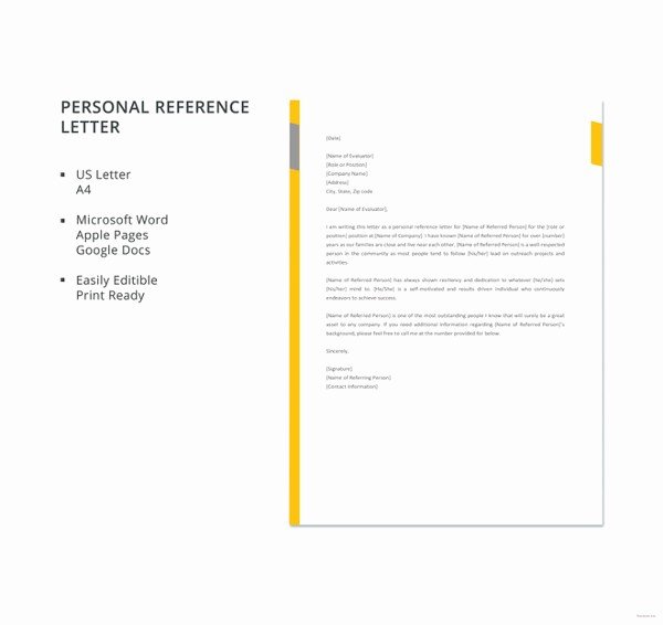 Personal Reference Letter Template Free Unique 10 Sample Business Reference Letter Templates Pdf Doc