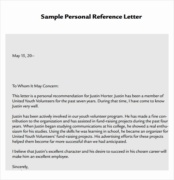 Personal Reference Letter Template Free Unique Business Reference Letter Template Free 389 Letter
