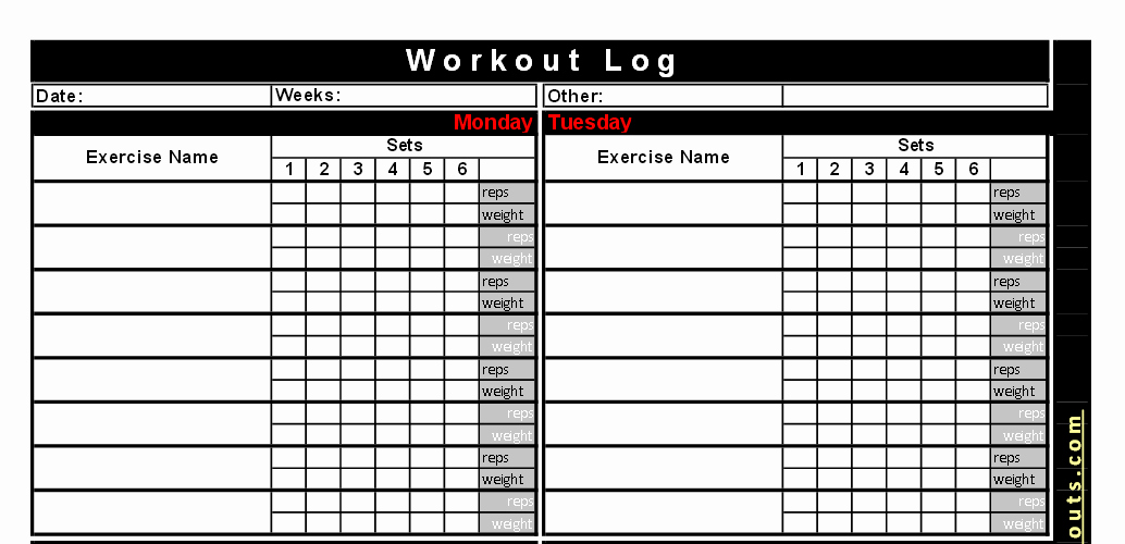 Personal Training Workout Log Template Beautiful Best Free Printable Workout Logs