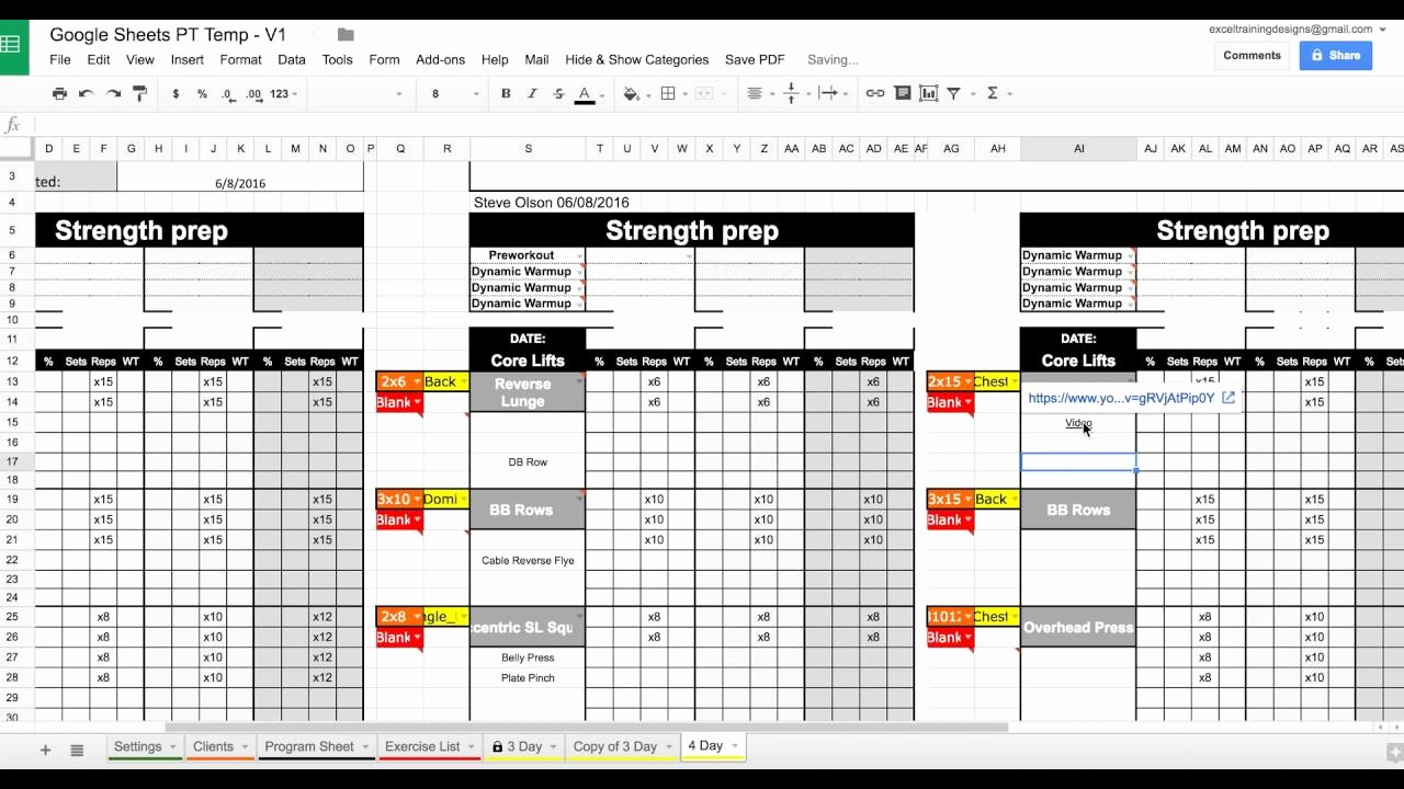 Personal Training Workout Log Template Best Of Setting Up Your Google Sheets Personal Training Template