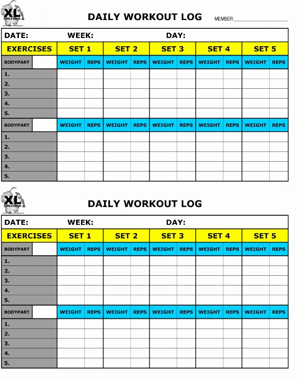 Personal Training Workout Log Template Lovely Free Printable Workout Log Free Download Aashe