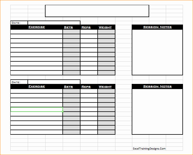 Personal Training Workout Log Template Unique Free Personal Training Excel Templates Personal Trainer
