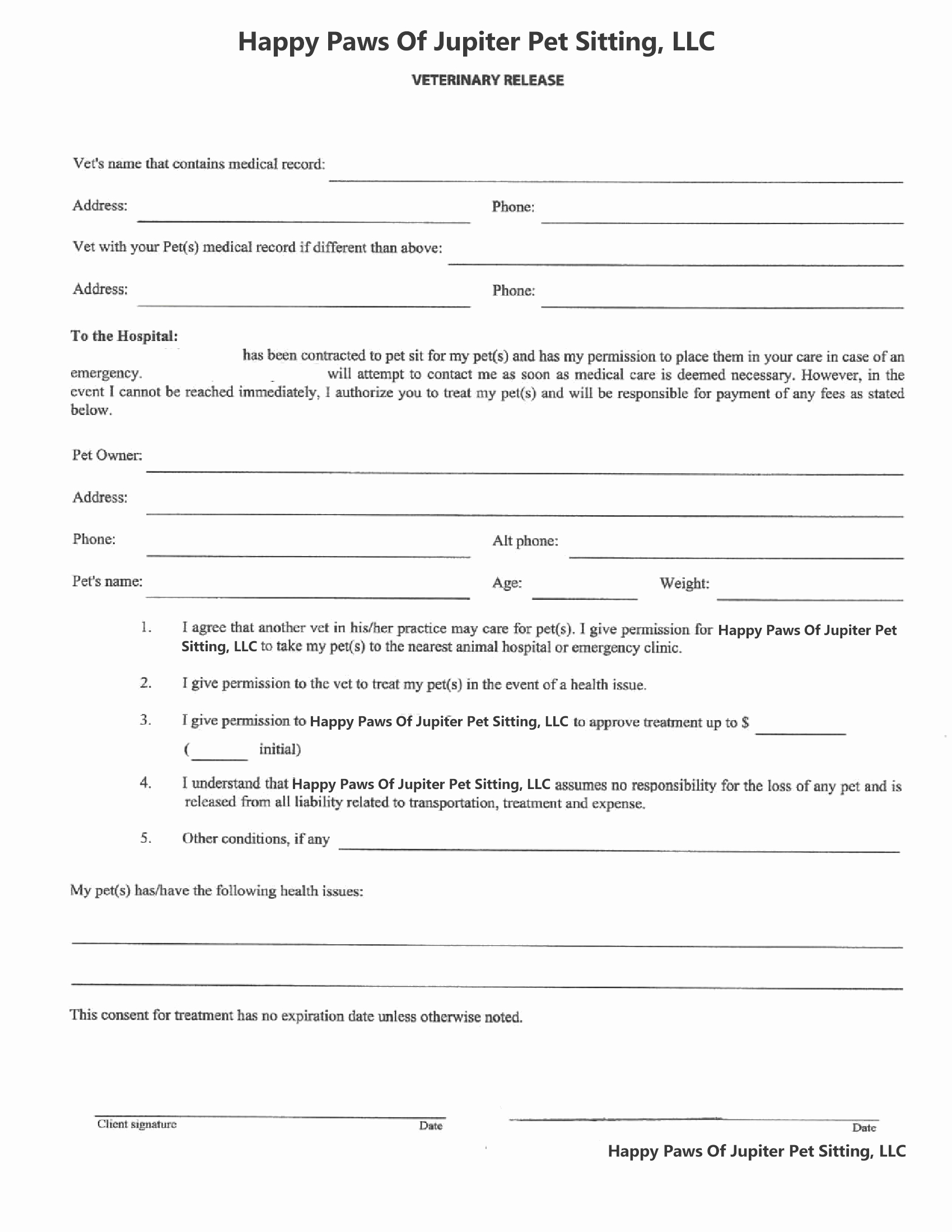 Pet Sitting Client Information form Awesome forms – Happy Paws