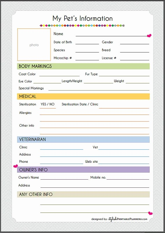 Pet Sitting Client Information form Awesome Pet Information Sheet Dogs Pinterest