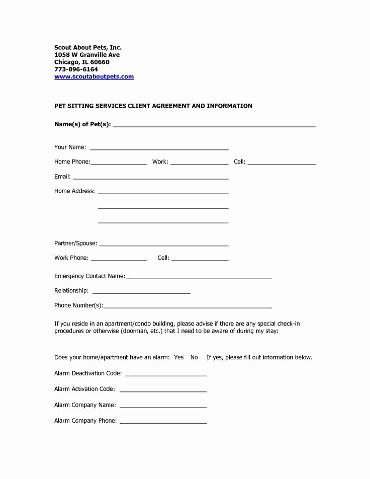 Pet Sitting Client Information form Awesome Pet Sitting Contract Template Free Printable Documents