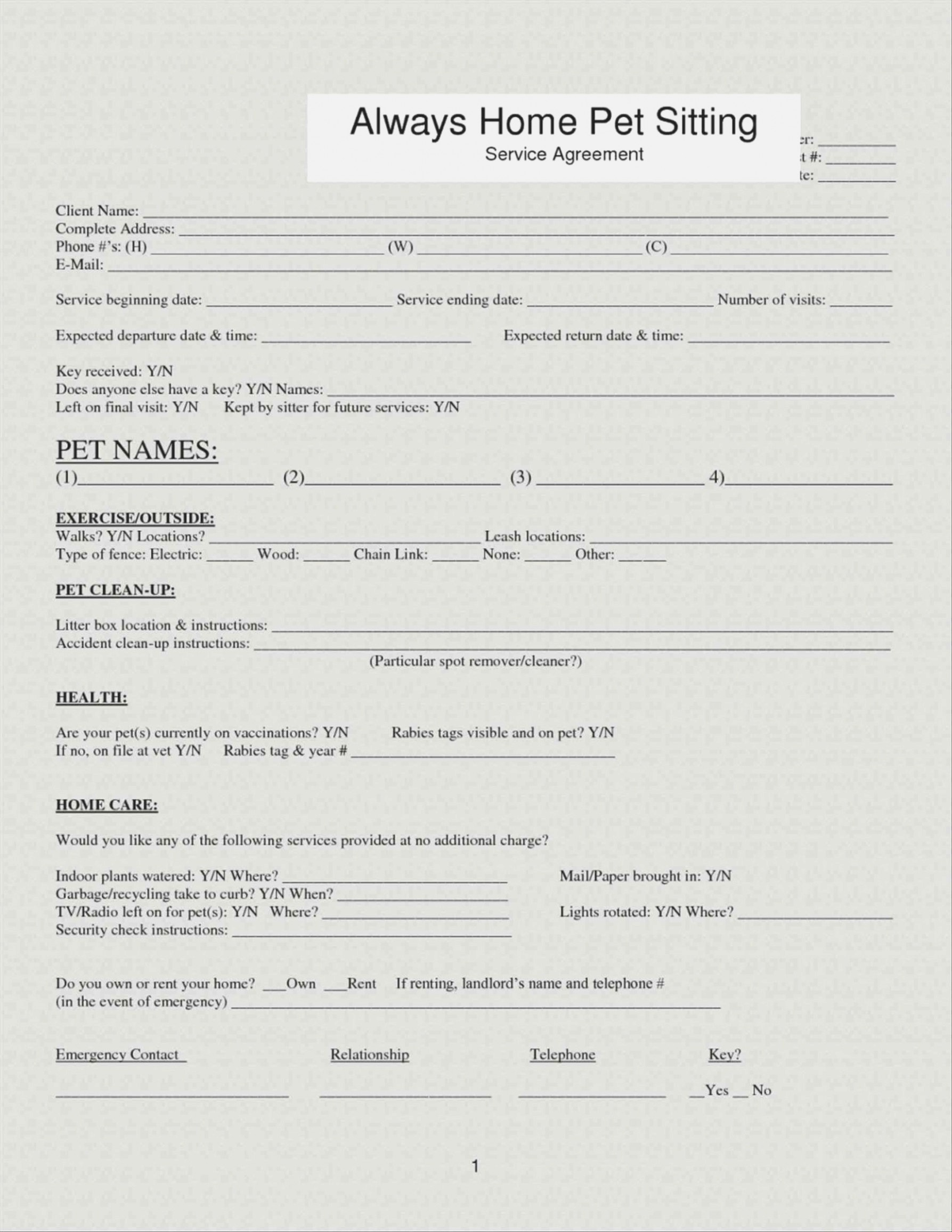 Pet Sitting Client Information form Beautiful Pet Sitting form Pet Care Agreement Create A Free Pet