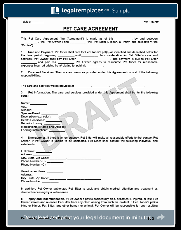 Pet Sitting Client Information form Elegant Pet Sitting form Template