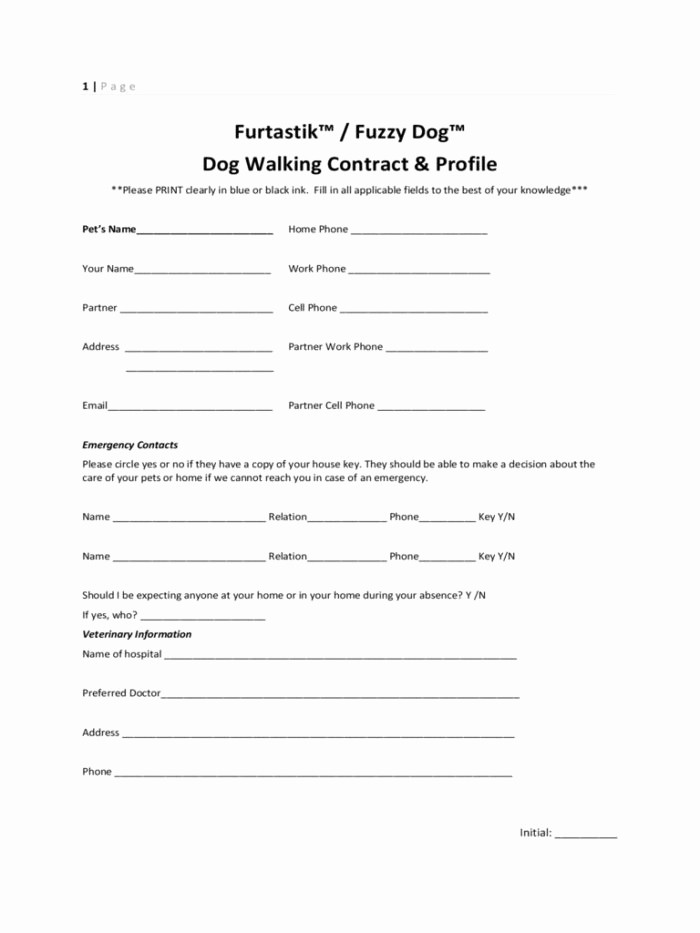 Pet Sitting Client Information form Fresh Dog Walking Contract Template Uk Templates Resume