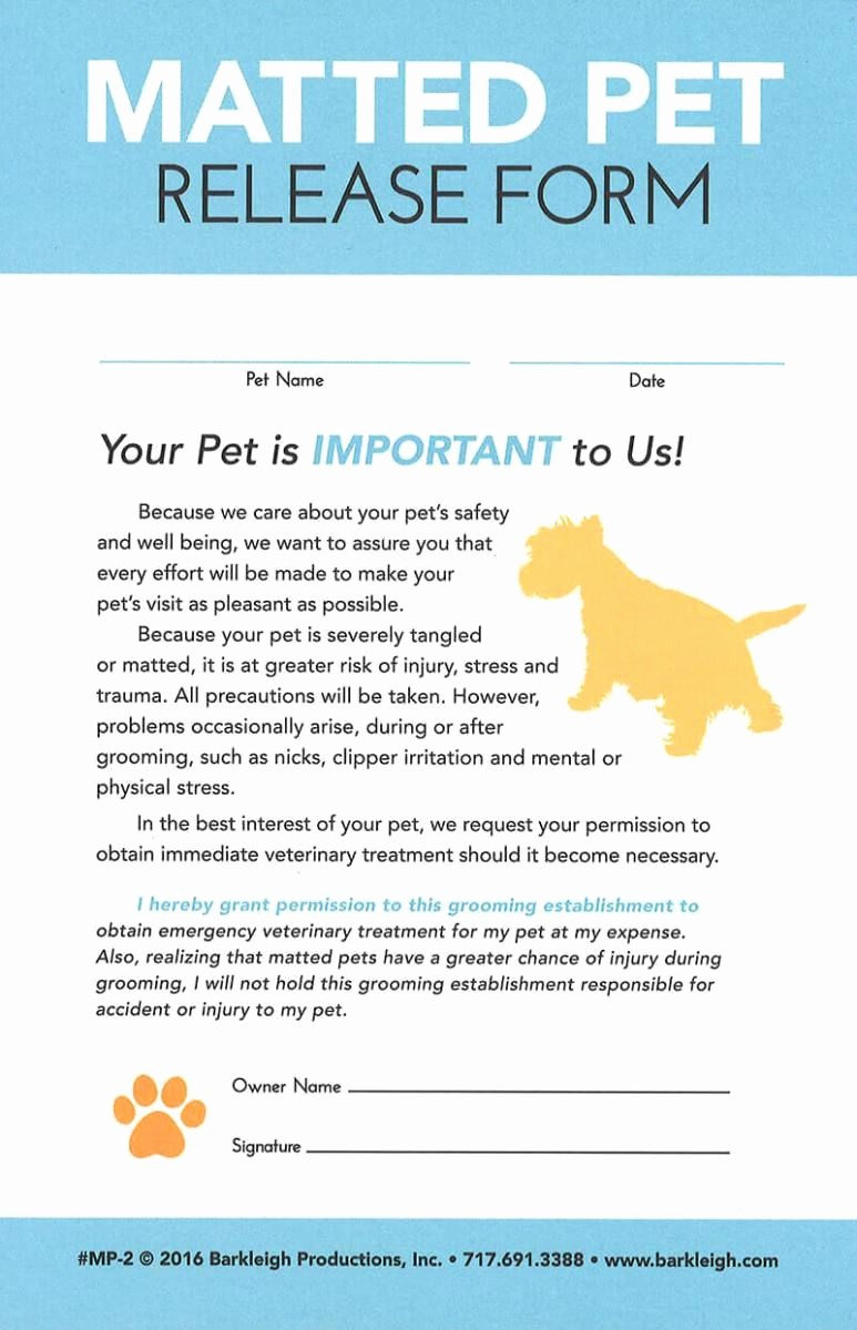 Pet Sitting Client Information form Fresh Modern Matted Pet Release form