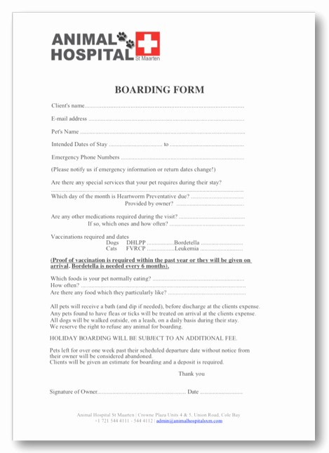 Pet Sitting Client Information form Inspirational Animal Hospital Of St Maarten Contact Us Download forms