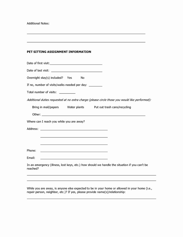 Pet Sitting Client Information form Lovely Dog Sitting form Scout About Pets Inc