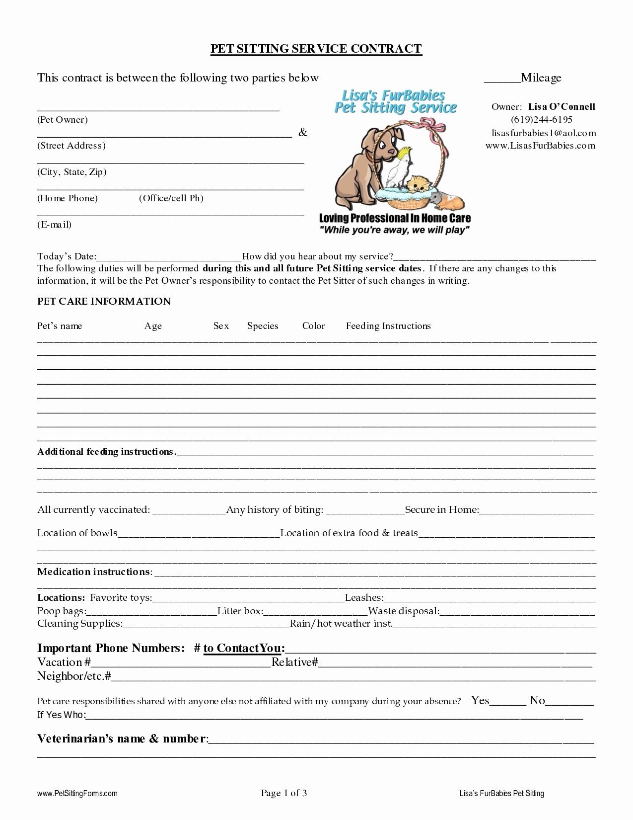 Pet Sitting Contract Template Free Awesome 5 Best Of Pet Sitter Template Pet Sitting