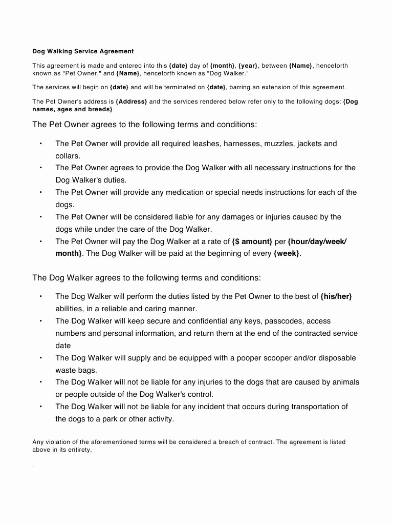 Pet Sitting Contract Template Free Awesome Contract Dog Walking Contract Template