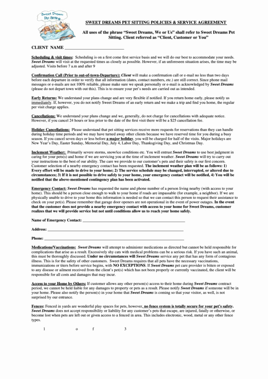 Pet Sitting Contract Template Free Beautiful top Pet Sitting Contract Templates Free to In Pdf
