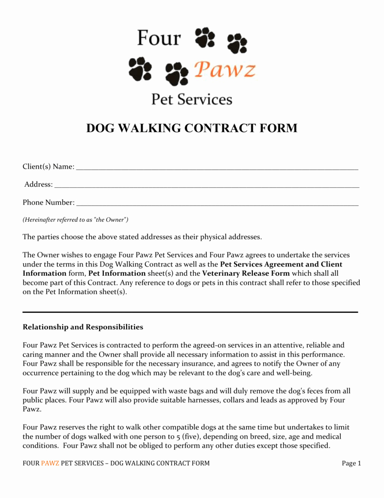 Pet Sitting Contract Template Free Best Of Dog Walking form Papel Lenguasalacarta