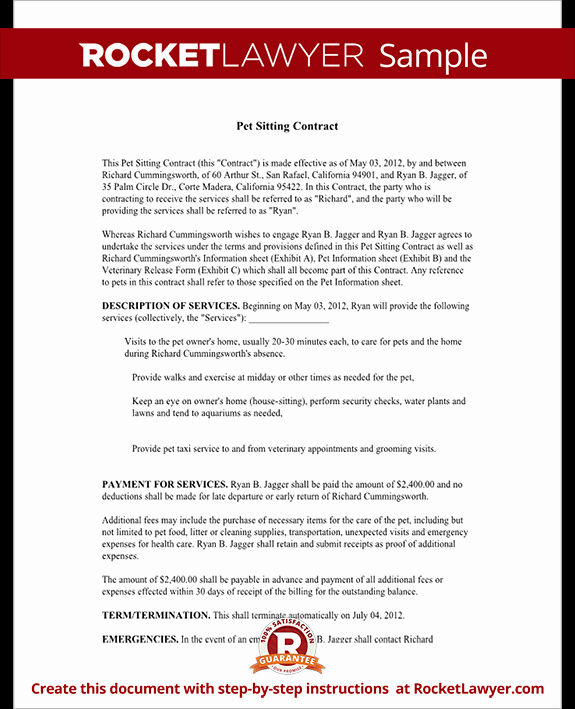 Pet Sitting Contract Template Free Best Of Pet Sitting Contract Template Service Agreement form for