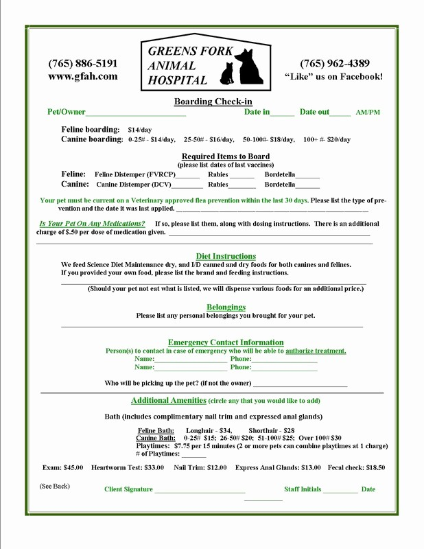 Pet Sitting Contract Template Free Best Of Veterinary Boarding forms to Pin On Pinterest