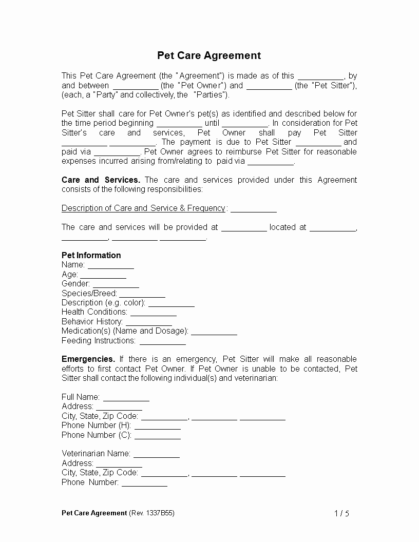 Pet Sitting Contract Template Free Elegant Free Pet Care Agreement Template