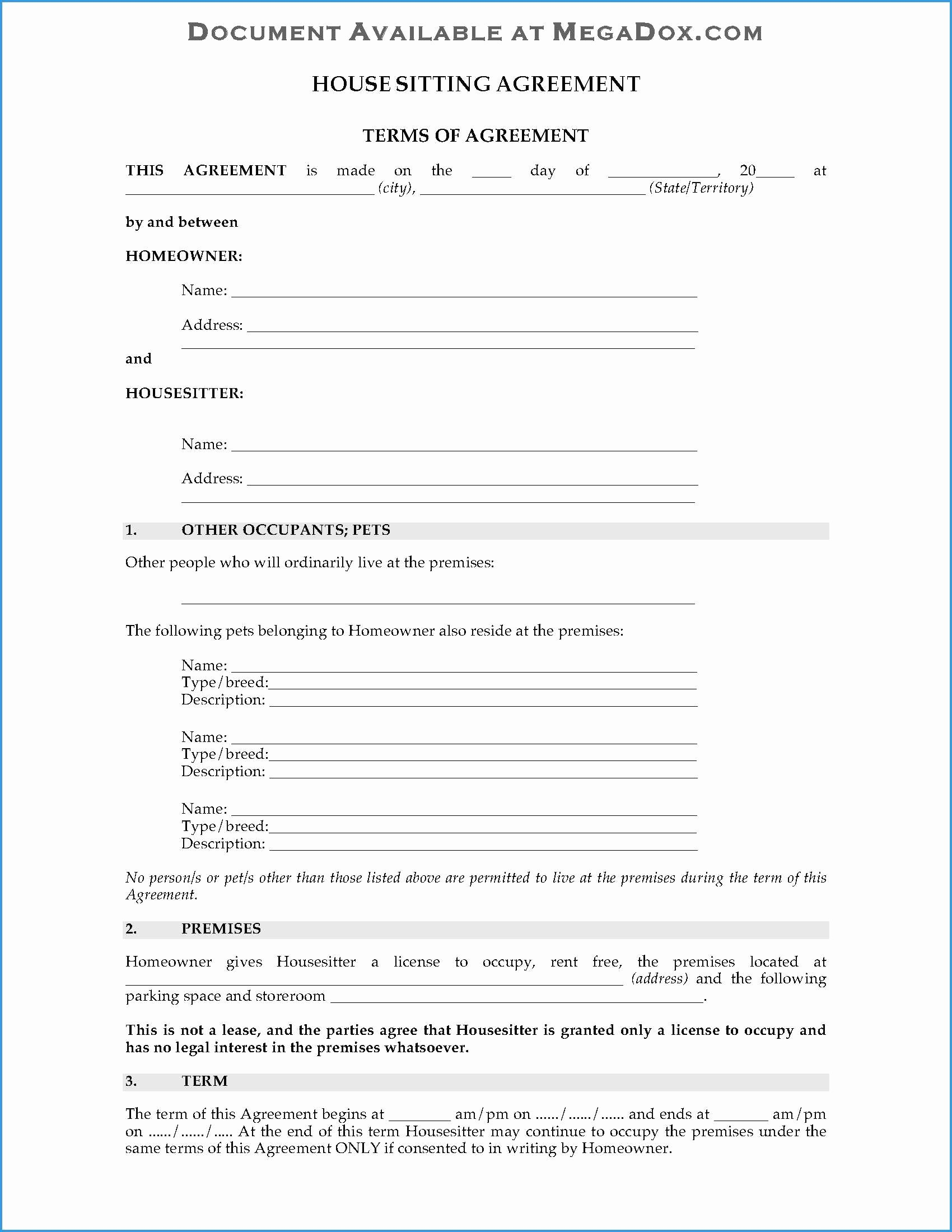 Pet Sitting Contract Template Free Fresh 97 Pet Sitting Contract Template Free Pet Sitter