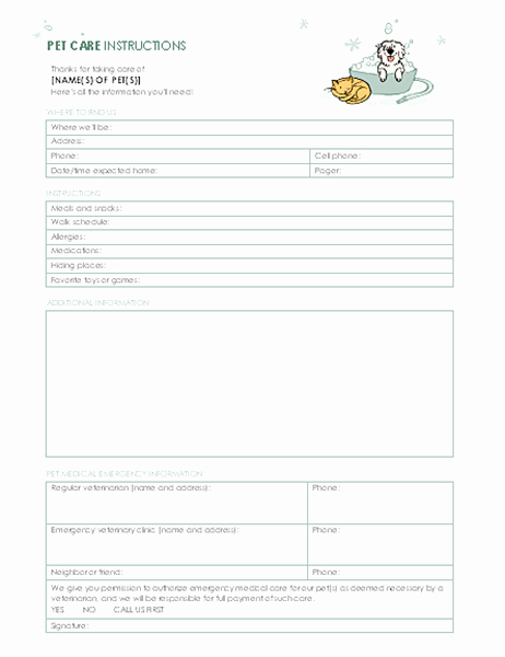 Pet Sitting Contract Template Free Inspirational Instructions for Pet Sitter