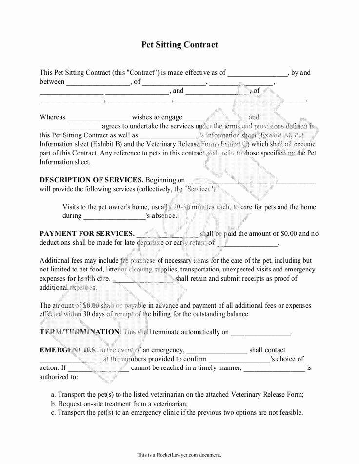 Pet Sitting Contract Template Free Lovely 18 Best Images About Business Thingys On Pinterest