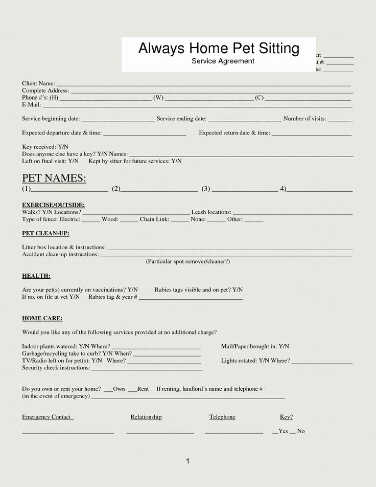 Pet Sitting Contract Template Free Lovely 33 Best Images About Dog forms On Pinterest