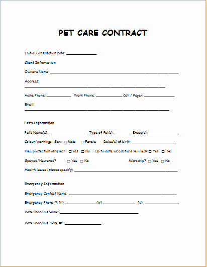 Pet Sitting Contract Template Free Luxury Pet Care Contract Sample Template