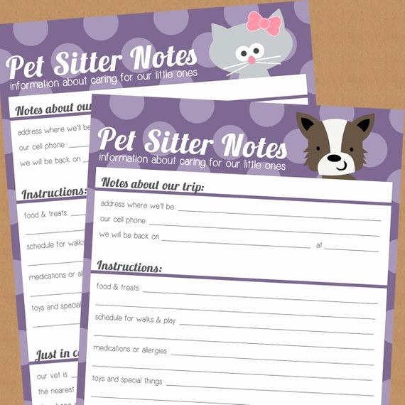 Pet Sitting Contract Template Free New Items Similar to Pet Sitter Notes Printable S