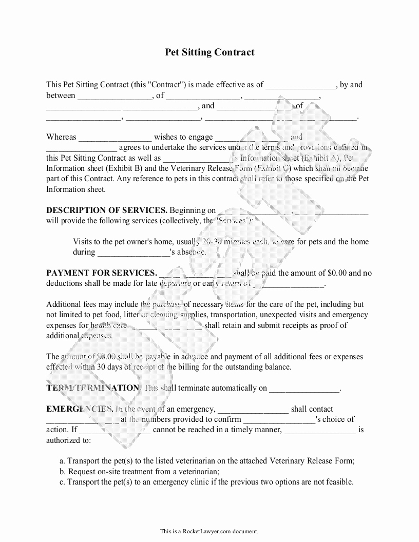 Pet Sitting Contract Template Free New Sample Pet Sitting Contract form Template