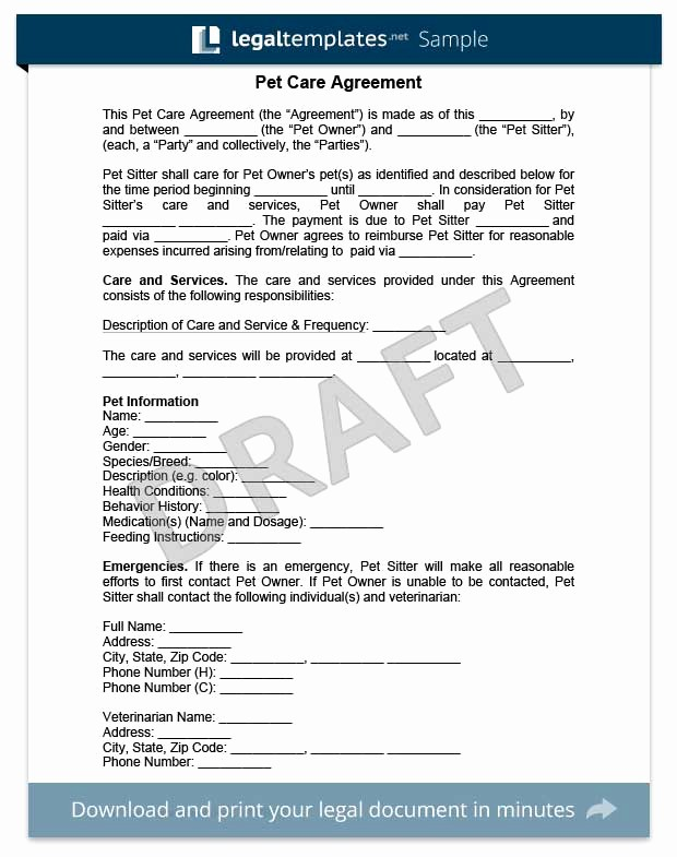 Pet Sitting Contract Template Free Unique Pet Care Agreement