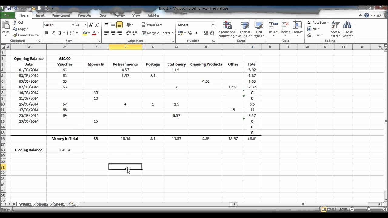 Petty Cash Balance Sheet Template Awesome How to Create A Petty Cash Template Using Excel Part 4