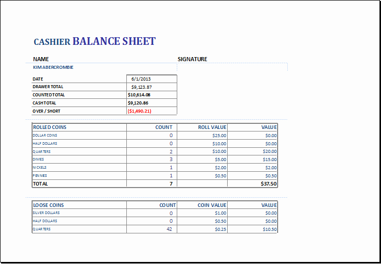 Petty Cash Balance Sheet Template Elegant Cashier Balance Sheet Template for Excel