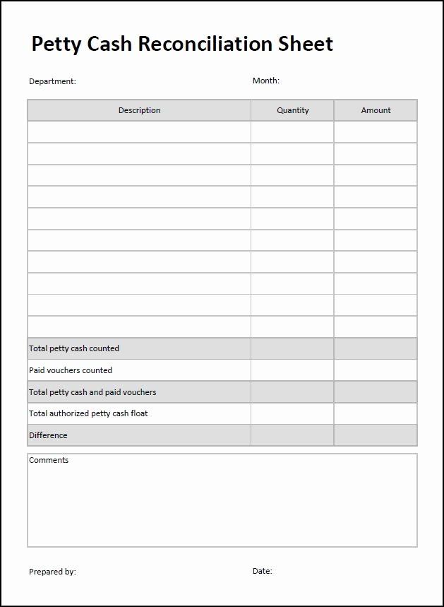 Petty Cash Balance Sheet Template Fresh Petty Cash Reconciliation Sheet