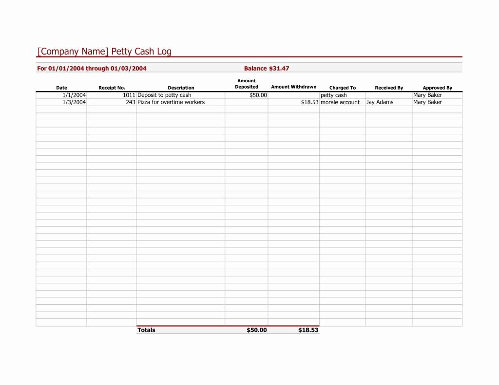 Petty Cash Balance Sheet Template Luxury Petty Cash Log Template