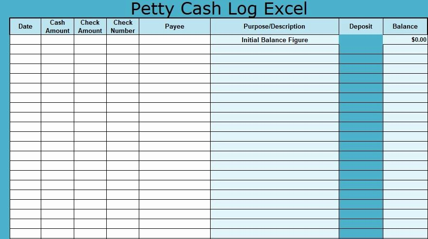 Petty Cash format In Excel Awesome Petty Cash Log Excel Template