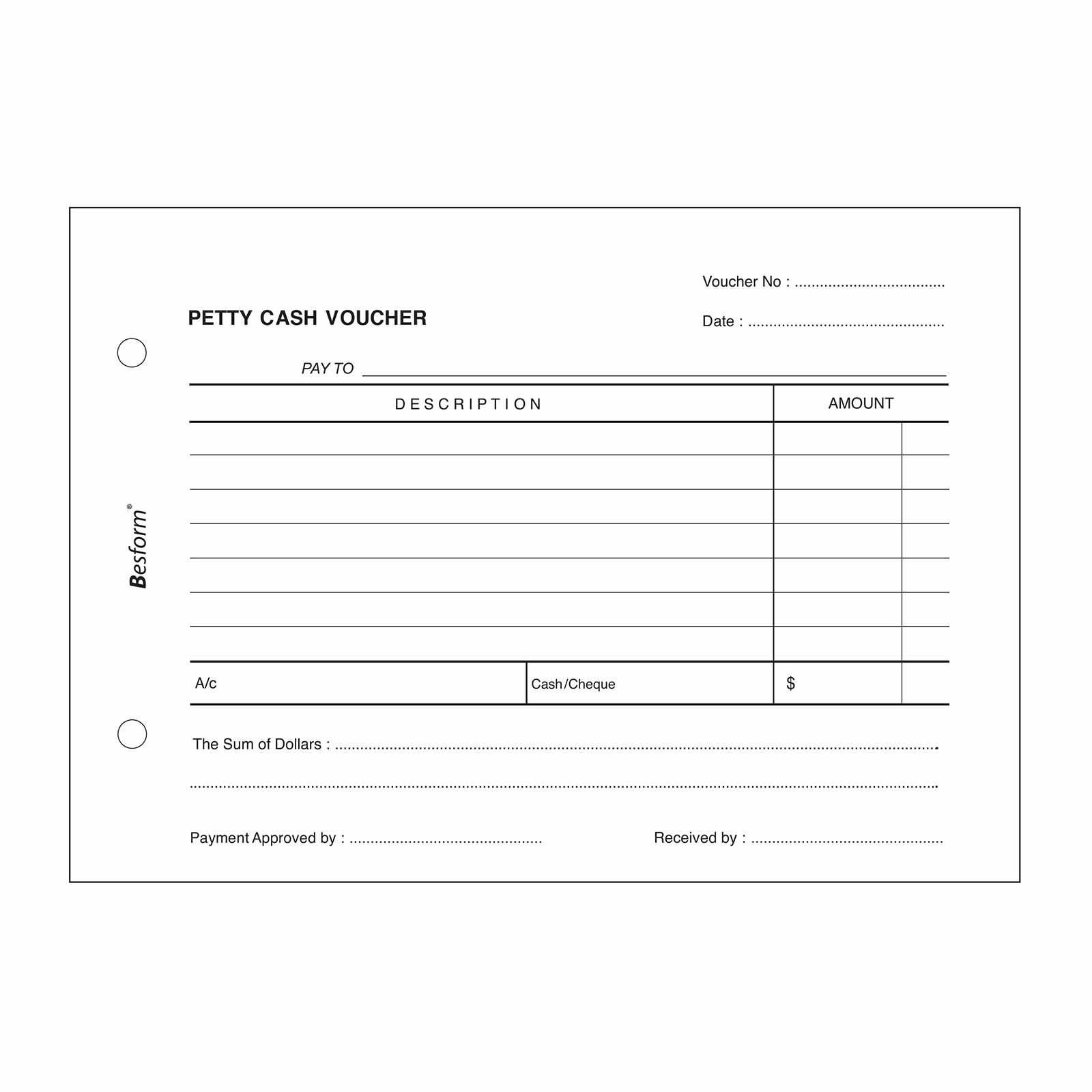 Petty Cash format In Excel Awesome Sample Cash Voucher form Template Example Receipt
