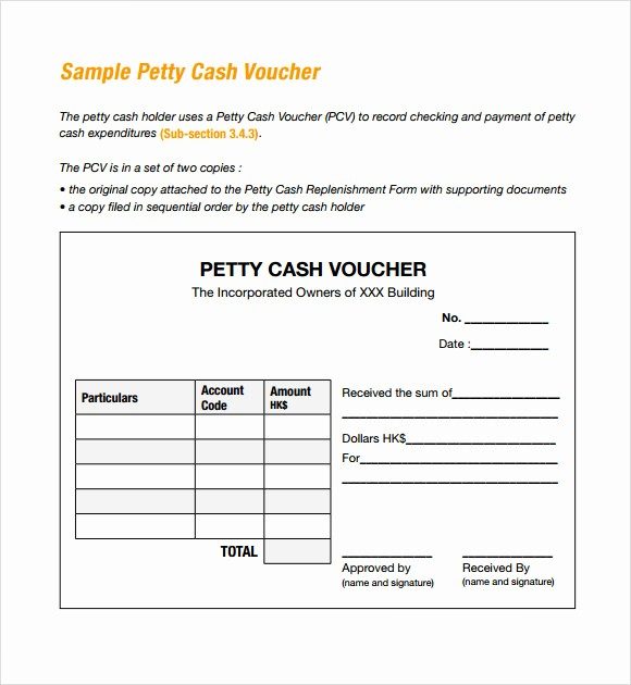 Petty Cash format In Excel Luxury Sample Petty Cash Voucher Template 9 Free Documents In