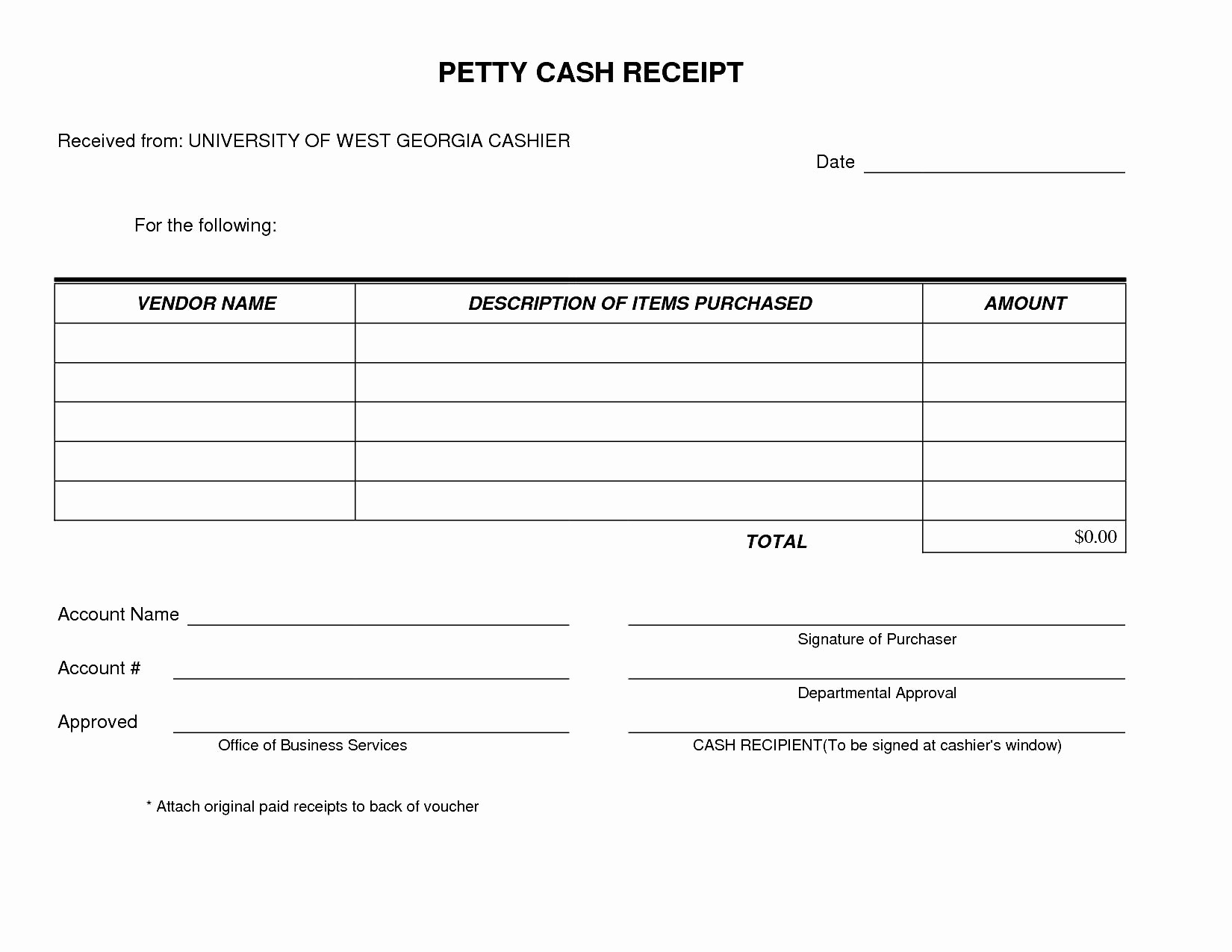 Petty Cash Receipt Template Free Awesome Cash Receipt form Examples Vatansun