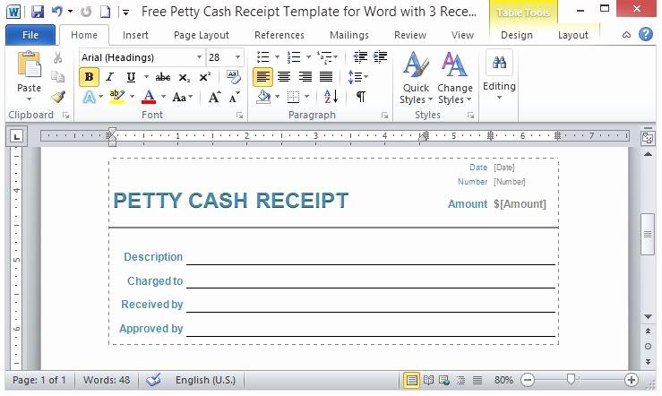 Petty Cash Receipt Template Free Best Of Free Petty Cash Receipt Template for Word with 3 Receipts