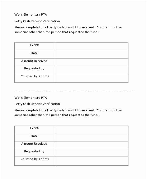 Petty Cash Receipt Template Free Fresh Sample Petty Cash Receipt form 8 Free Documents In Word